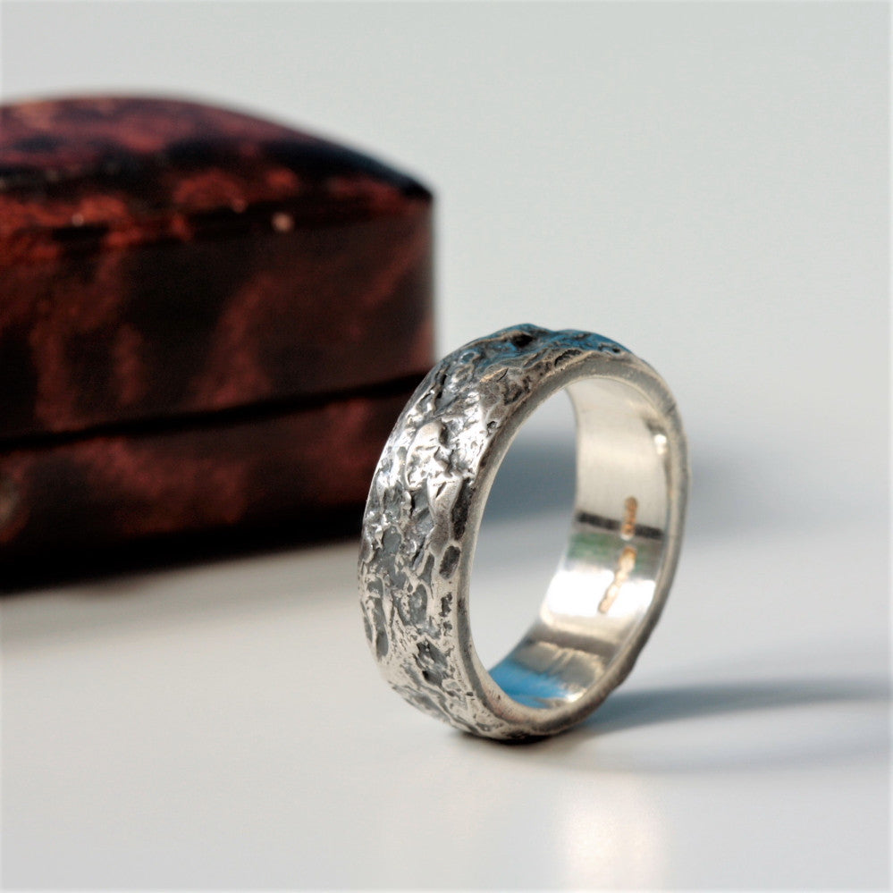 Rustic Oxidized Wide Silver Treasure Handmade Ring