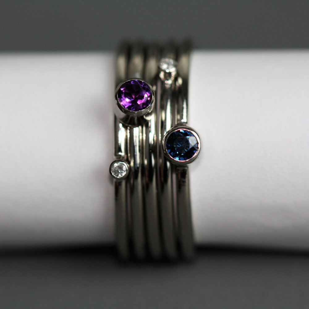 Handmade Platinum Birthstone Stacking Rings