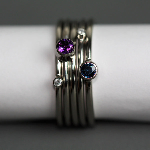 Platinum sapphire and diamond stacking rings