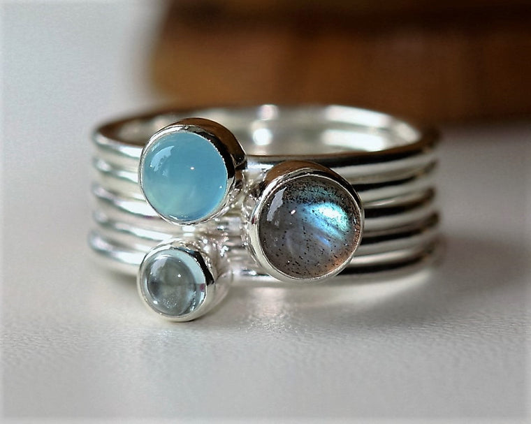 Sterling silver sea breeze stacking ring featuring Labradorite Blue Chalcedony and Aquamarine cabochons