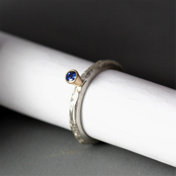Blue Sapphire silver and gold handmade ring