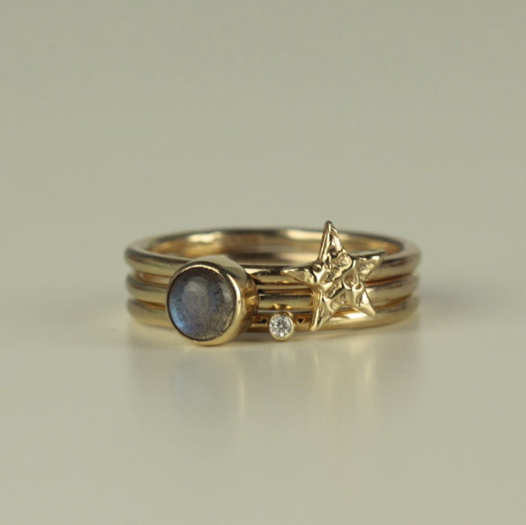 luxury diamond star and magical labradorite solid gold stacking