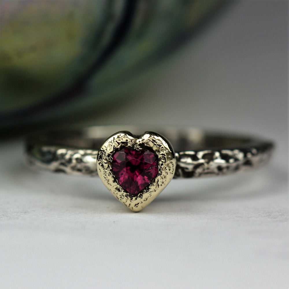 October Birthstone Tourmaline heart bezel set in 9ct gold silver ring