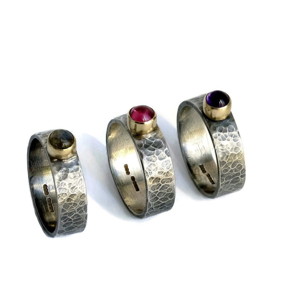 Mixed metal silver & gold gemstone wide textured rings