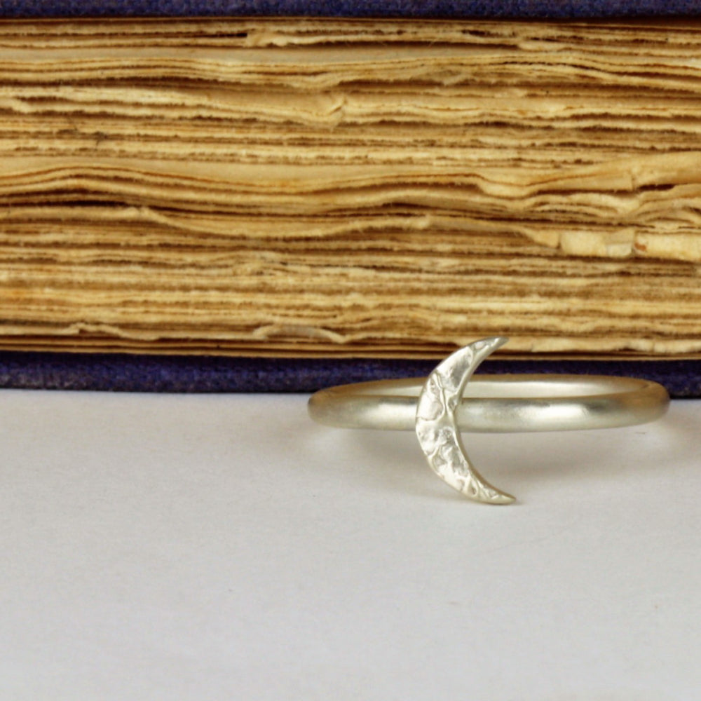 Luna silver textured moon ring