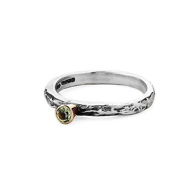 Peridot Silver and gold Textured ring band