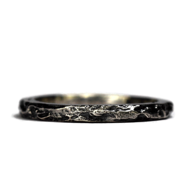 Oxidized sterling silver textured handmade Treasure Ring