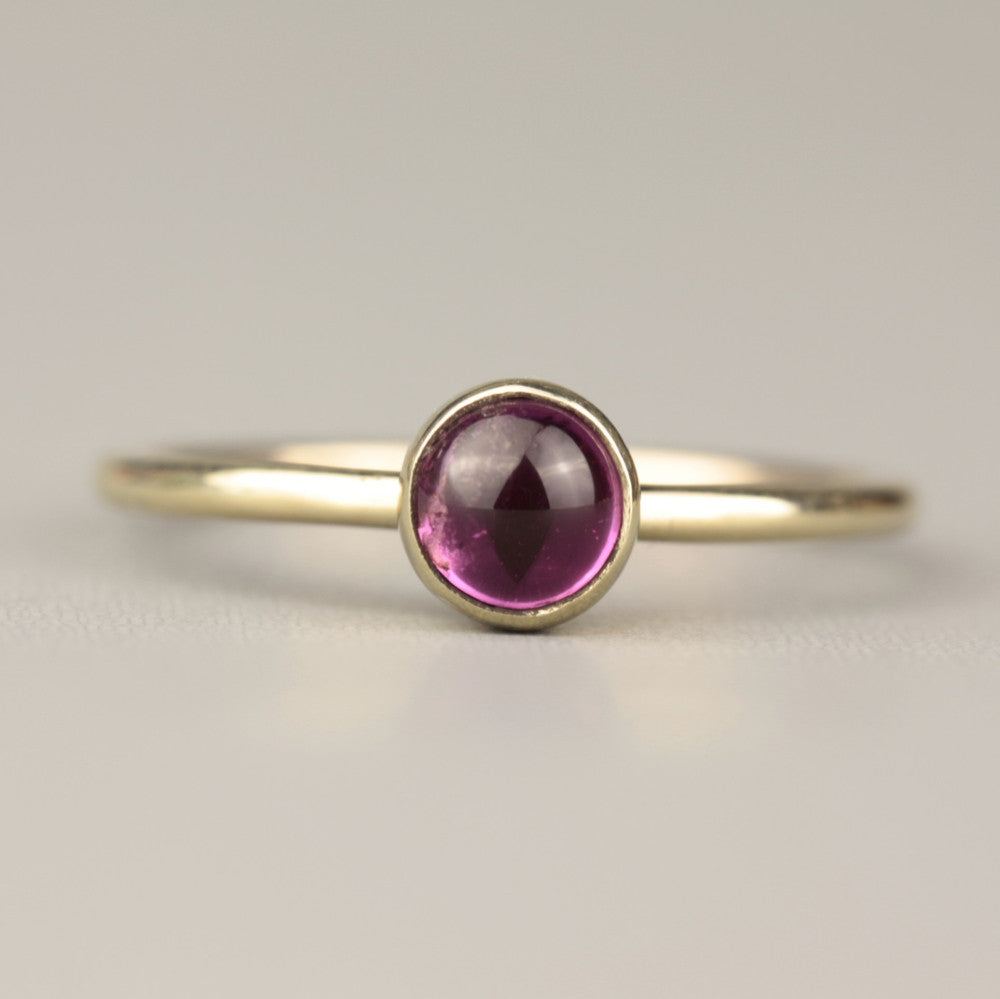 Solid gold pink tourmaline wild flower ring