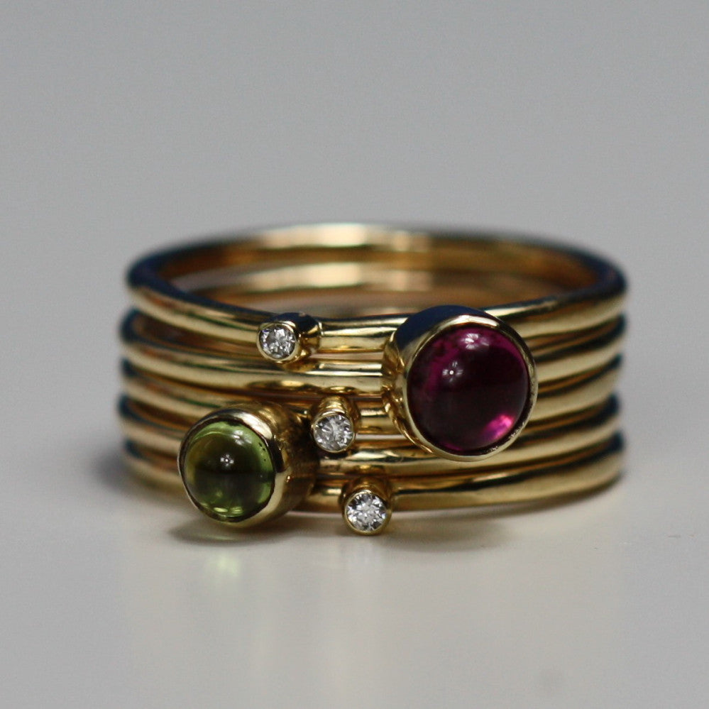 solid gold diamond and pink tourmaline wild flower stacking rings