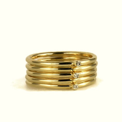 Handmade Diamond & Solid Gold Stacking Rings