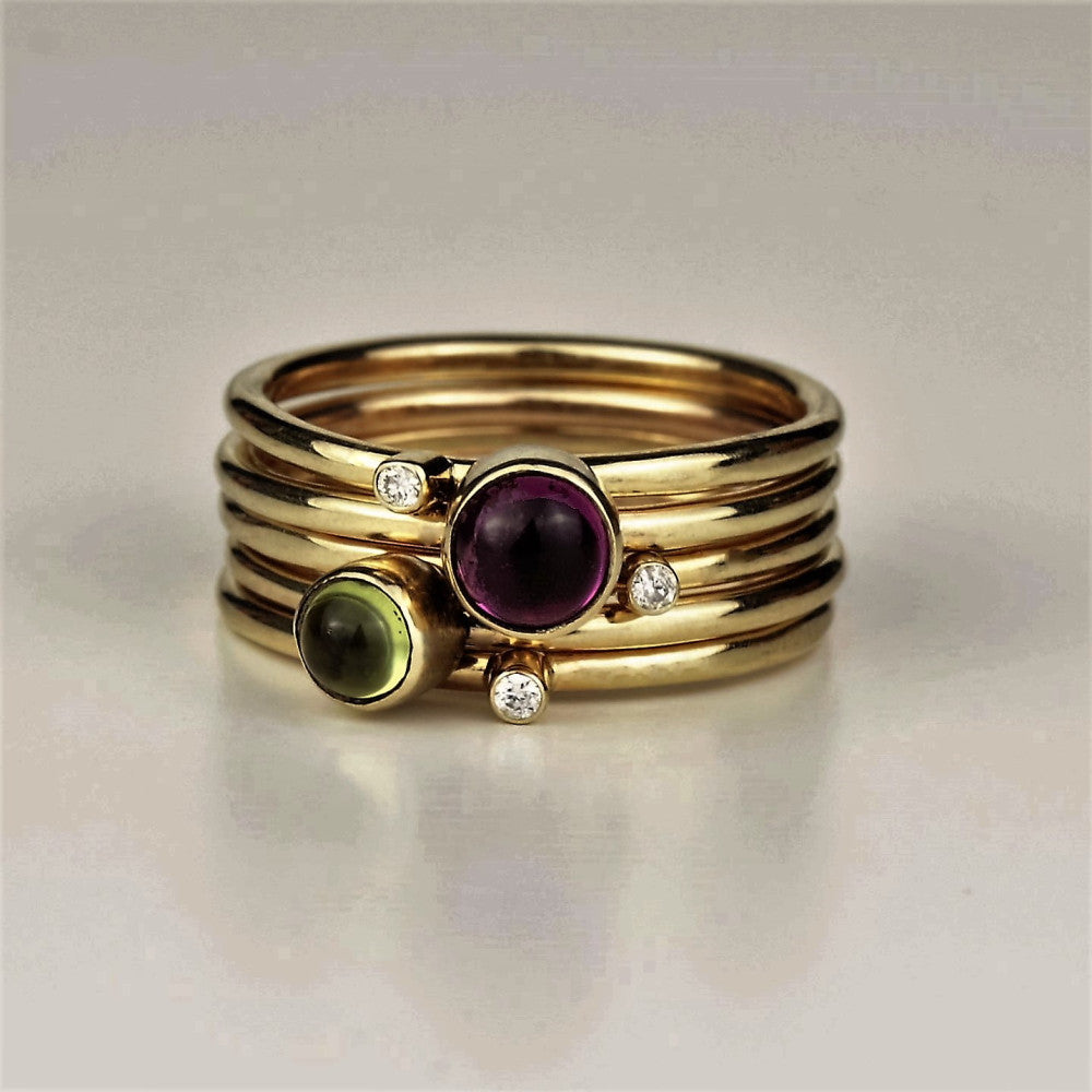 designer 9ct gold gemstone and diamond stacking ring