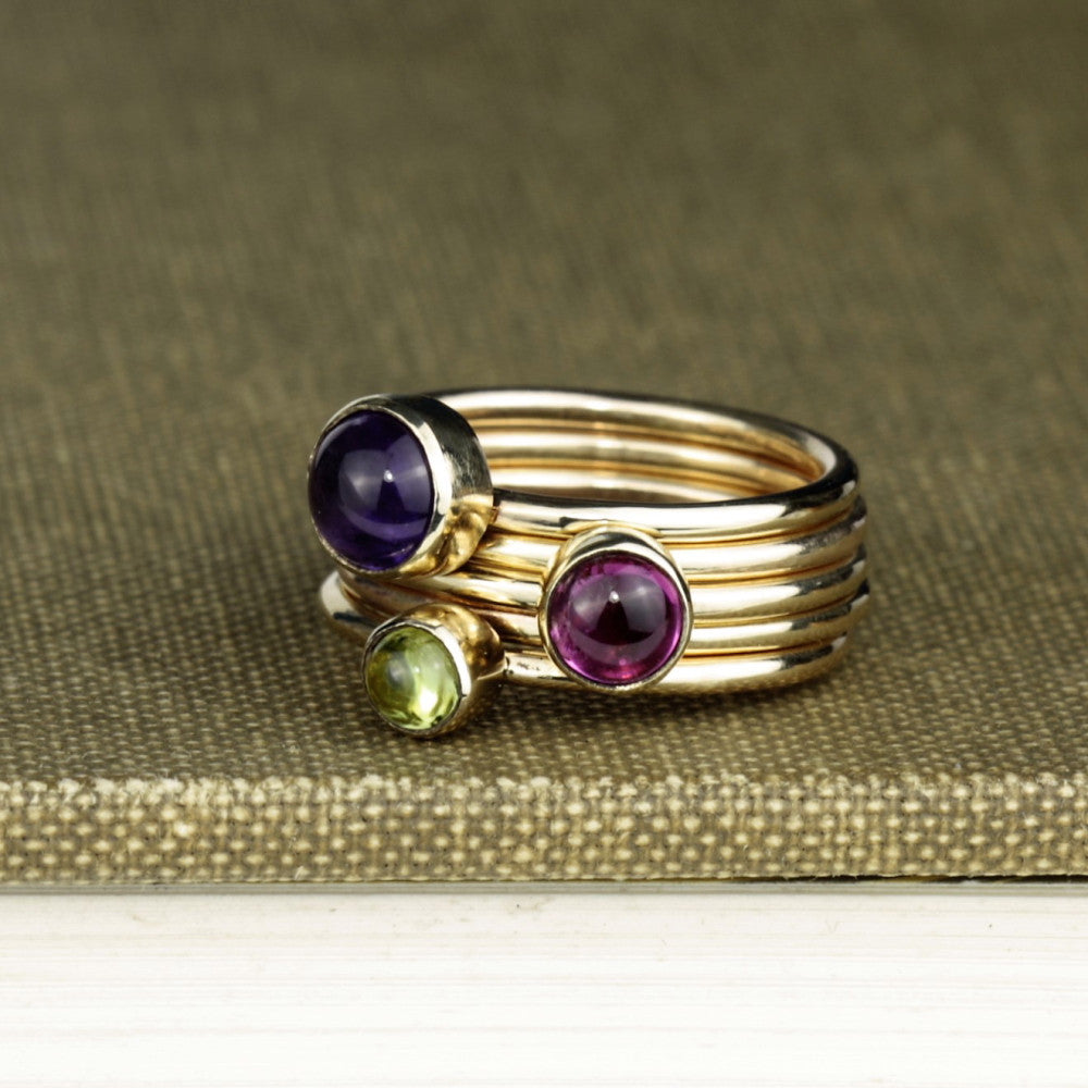 Wild Flower solid gold birthstone Amethyst Tourmaline and peridot stacking ring