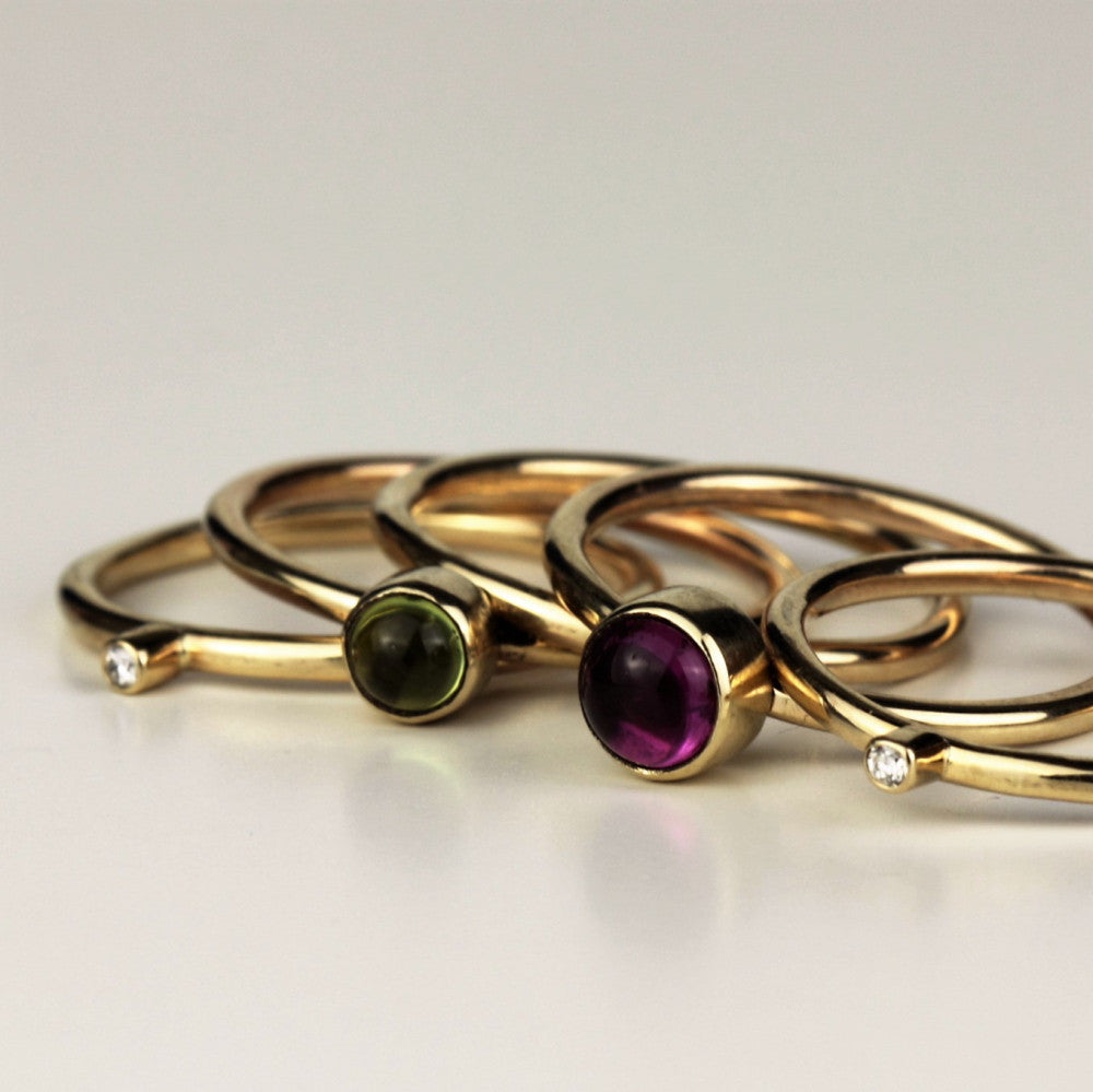 unusual 9ct gold peridot tourmaline and diamond wild flower stacking ring