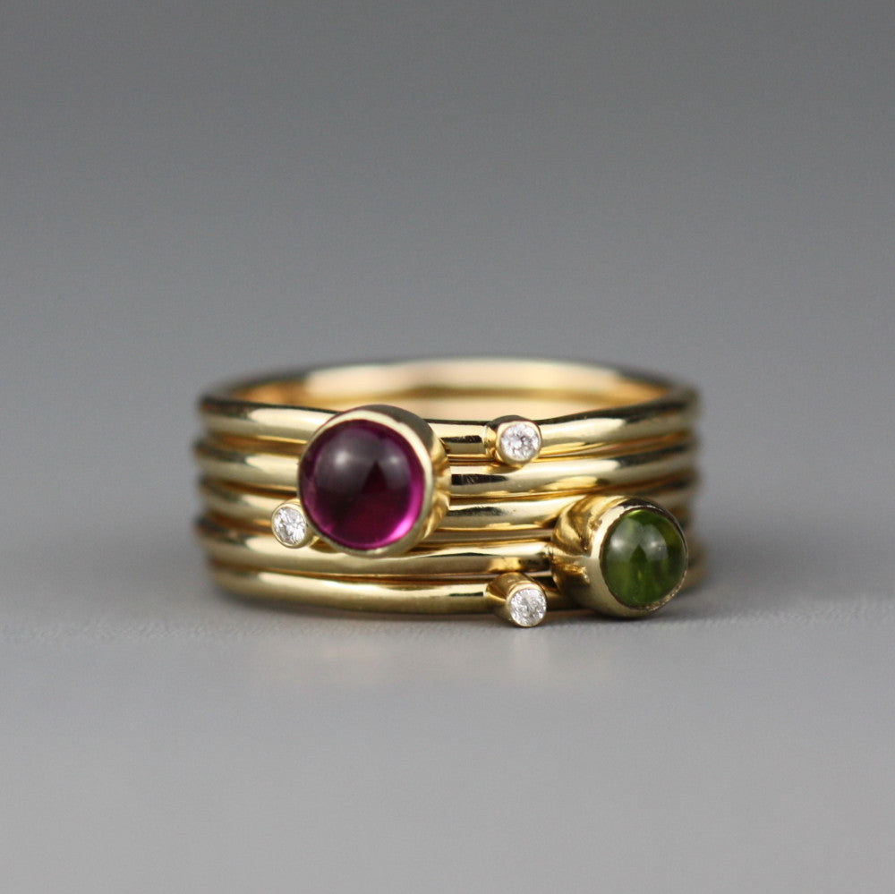 1fe2ecfa7 9ct gold wild flower gemstone and diamond stacking ring featuring peridot  and tourmaline gemstone ...