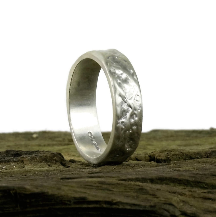 Unusual textured Treasure Island handmade silver ring