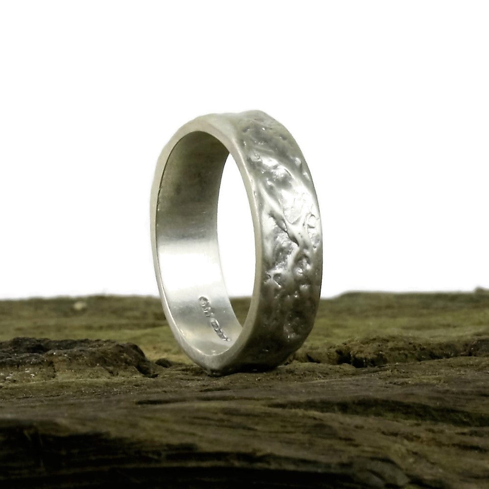 Unusual Brushed textured  handmade silver treasure ring