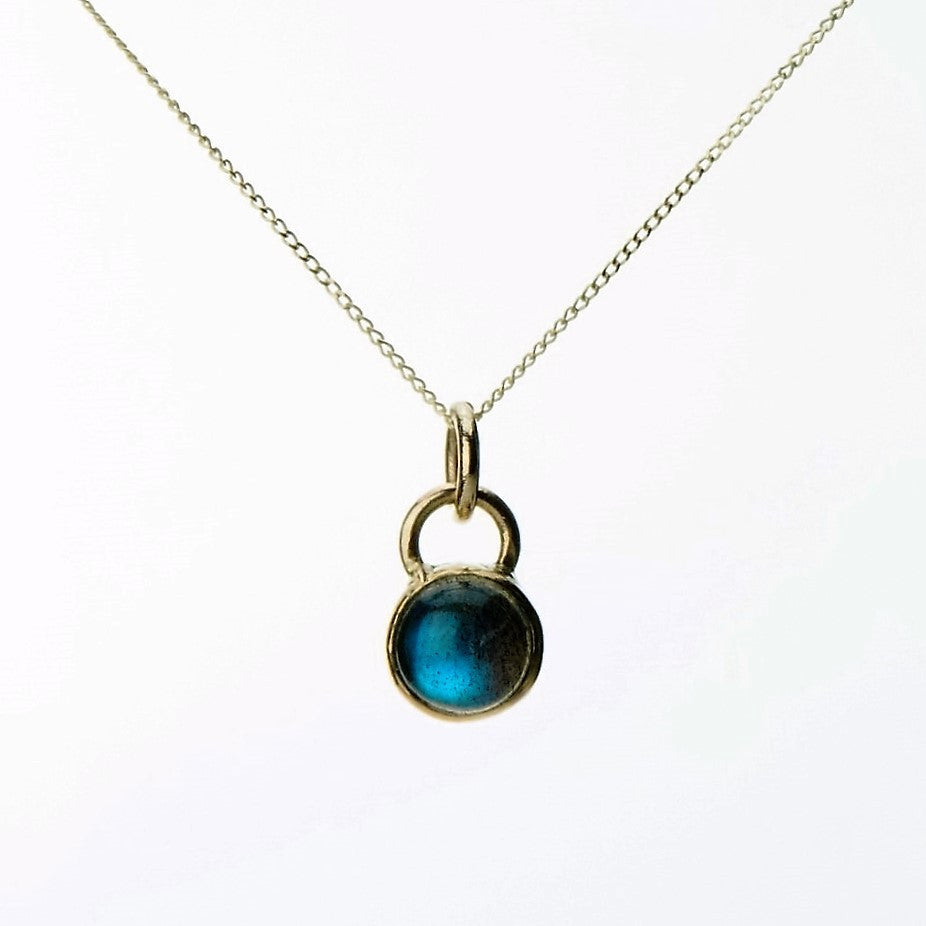 Labradorite universe solid 9ct gold dainty necklace