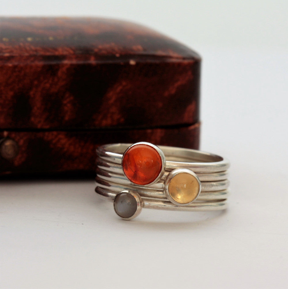handmade sterling silver gemstone stacking ring set