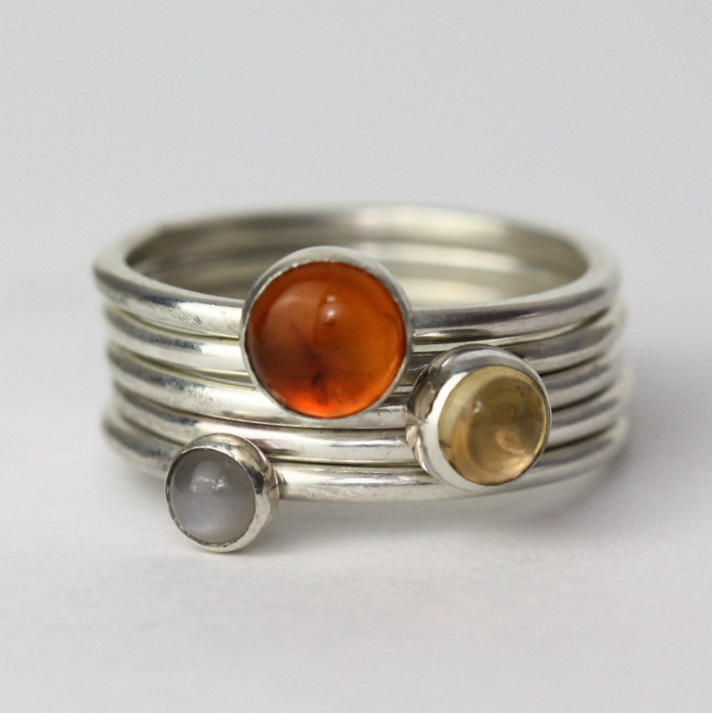 Sunrise Amber, Citrine and Grey Moonstone Stacking rings