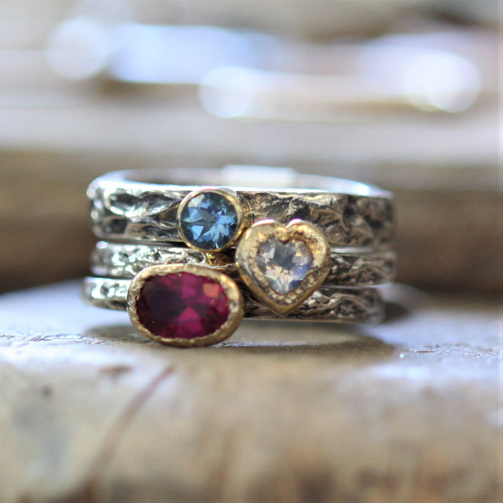 Moonstone, Aquamarine and Pink Tourmaline treasure rings