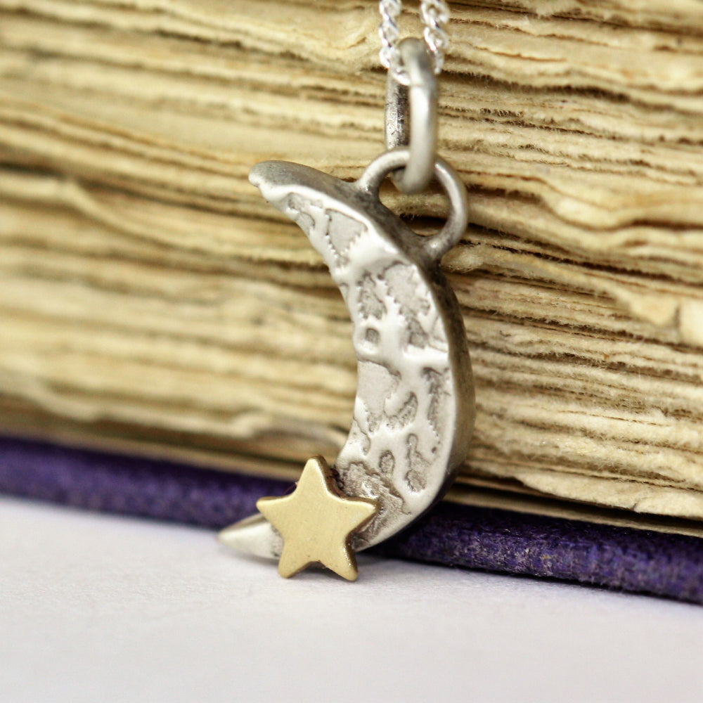 Texture handmade moon necklace and 9ct gold star