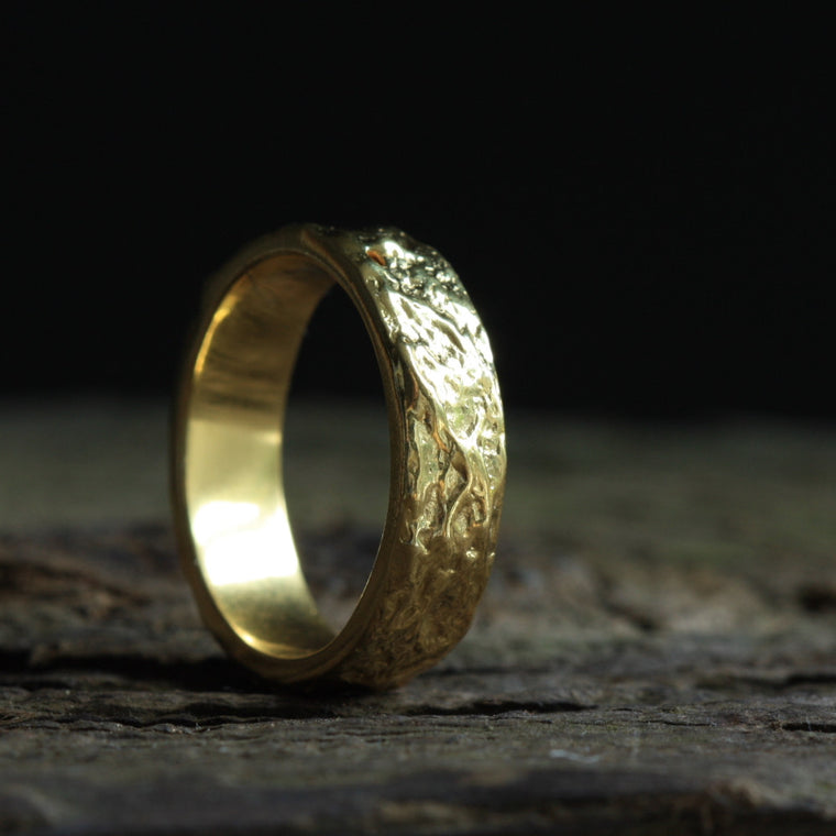 Handmade Wide Textured Liquid Gold Mans Wedding Ring