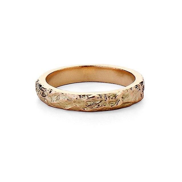 unusual textured handmade gold wedding band