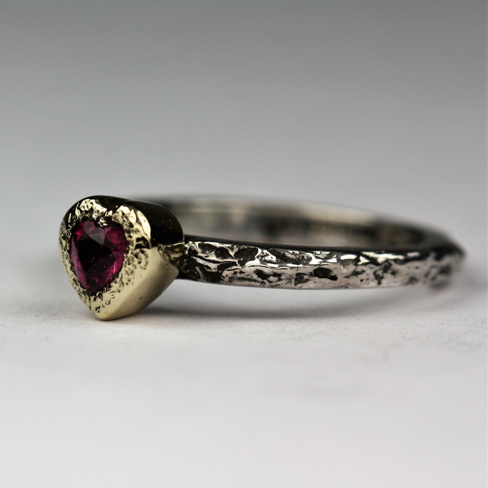 Oxidized textured ring featuring a 9ct gold heart Tourmaline Heart