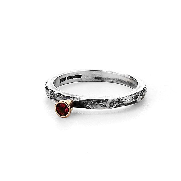 Tourmaline Birthstone Silver Ring Band