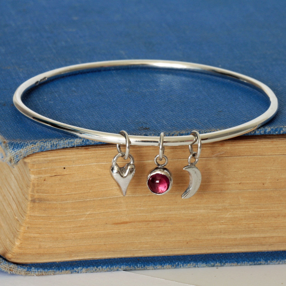 pink tourmaline silver heart, moon and star charm bangle