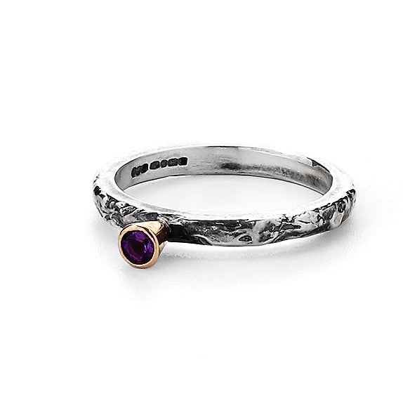 Silver and Gold Amethyst Textured Ring Band