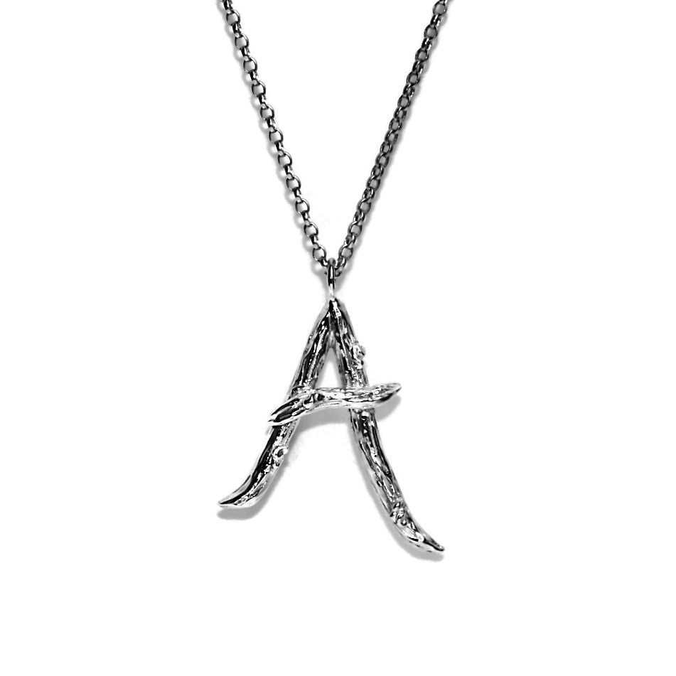 letter A twig initial long silver chain monogram necklace