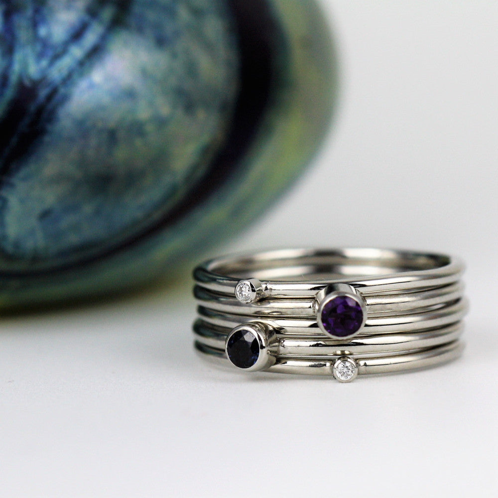 Family Birthstone Handmade Platinum Stacking Rings