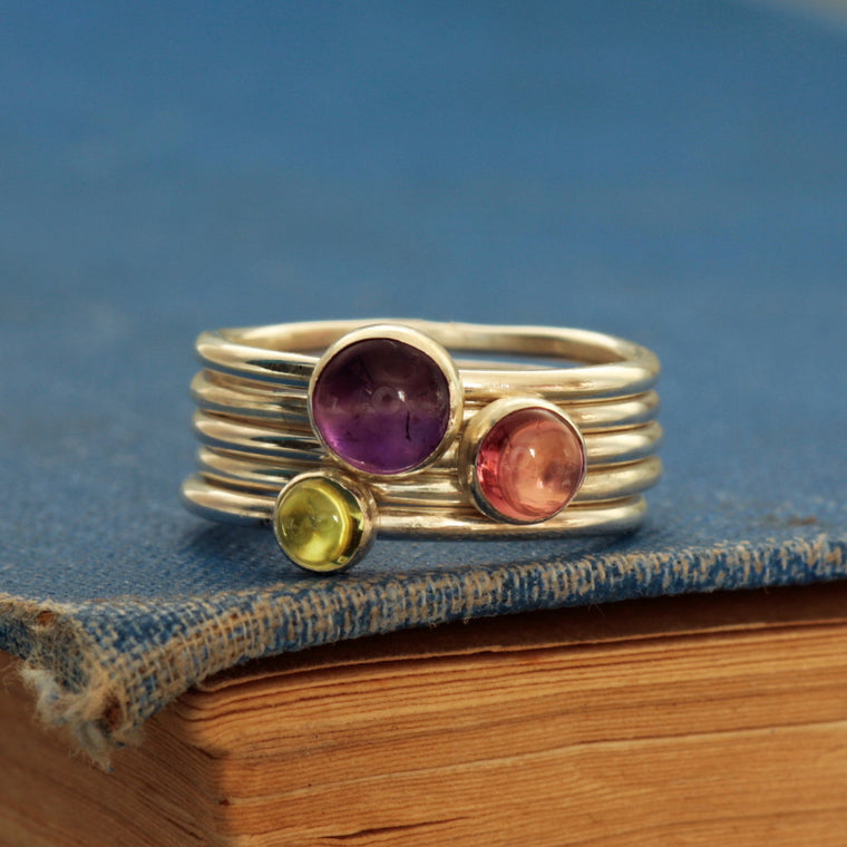 Wildflower multi gemstone silver handmade stacking ring