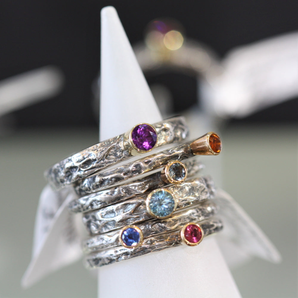 Gemstone mixed metal Treasure ring stack