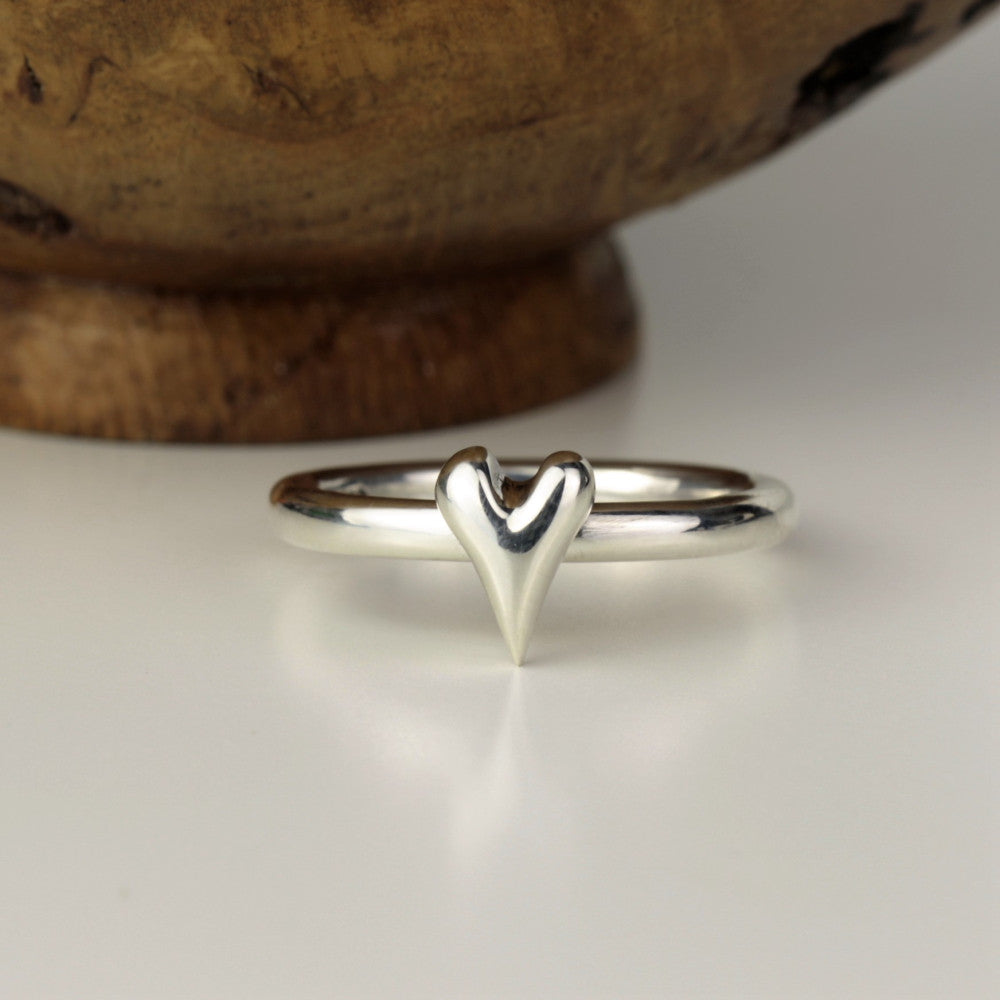 unique silver heart bespoke ring