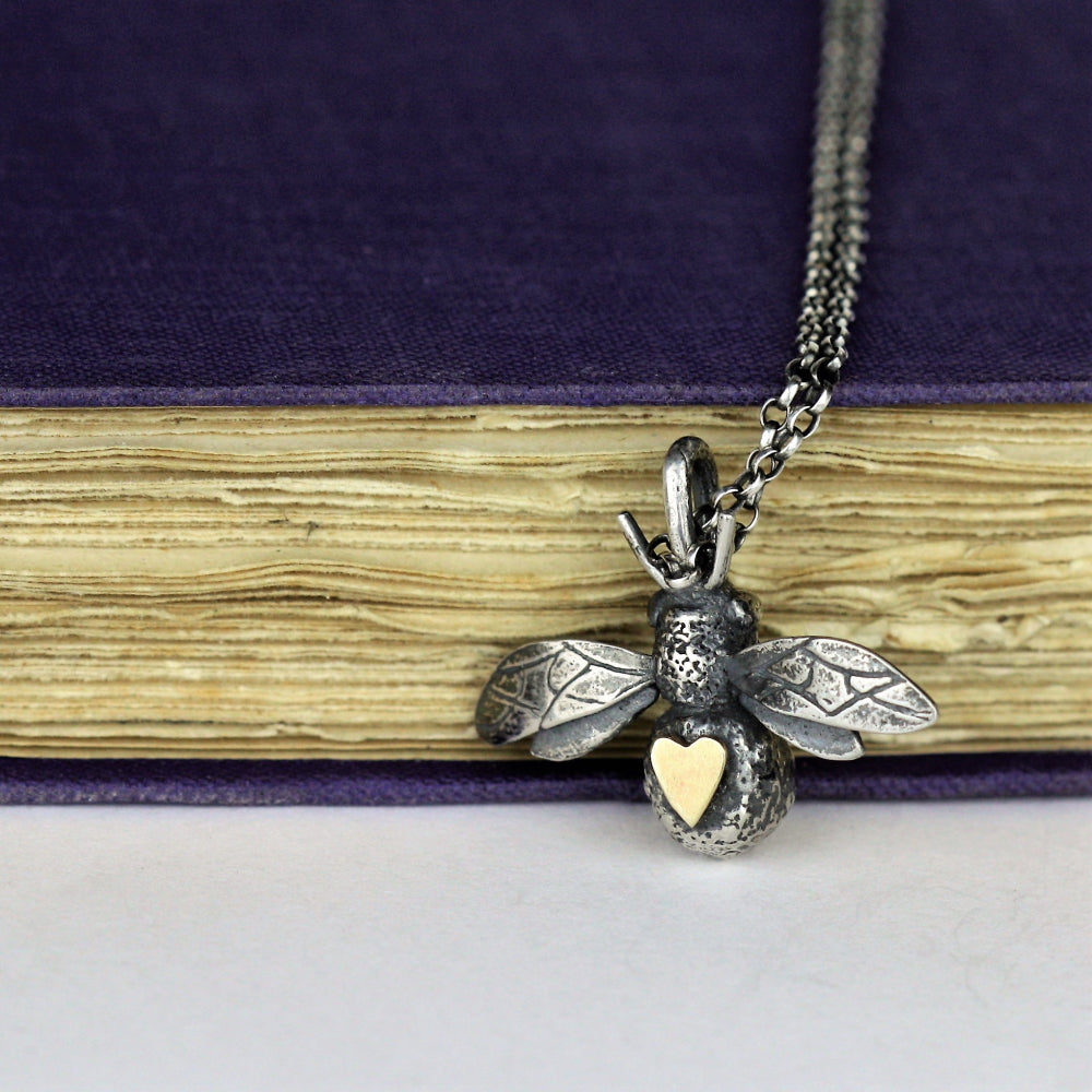 bee and solid gold heart necklace