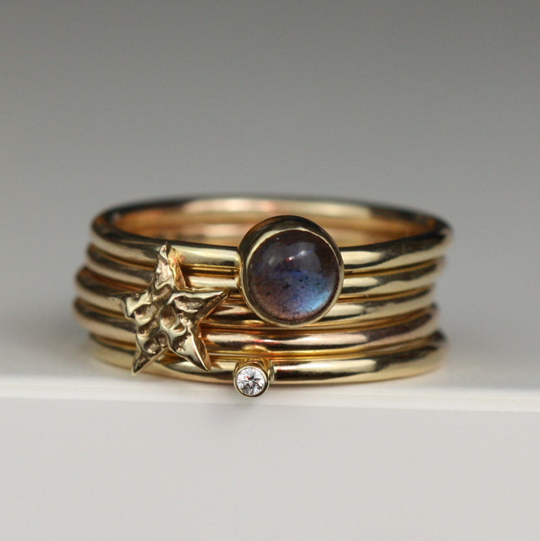 magical universe star, diamond and labradorite luxury stacking ring