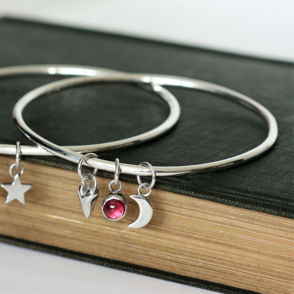Wild at Heart sterling silver personalised birthstone bangle