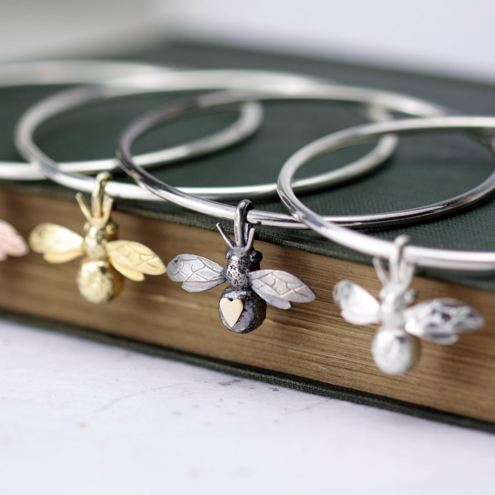 sterling silver handcrafted bee bangle