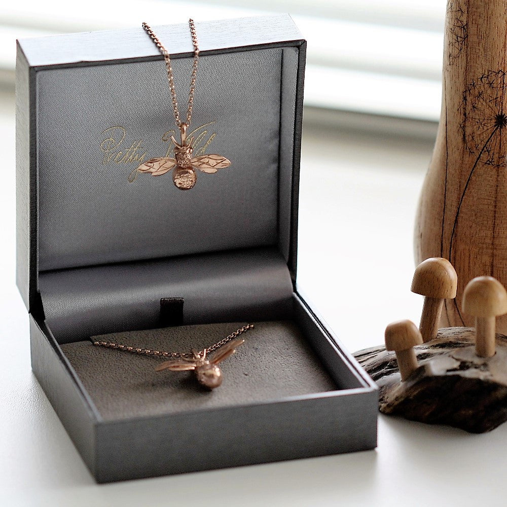 18ct Rose gold gilded silver handmade Bee necklace