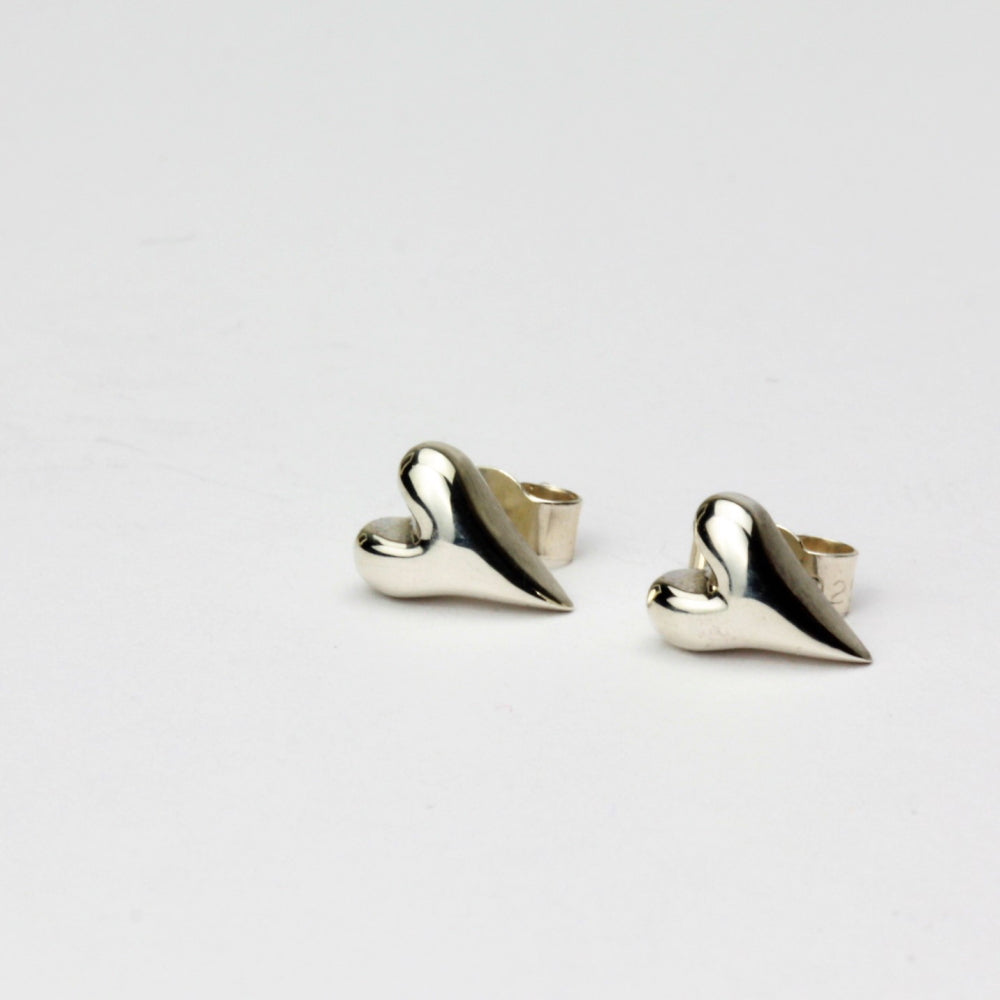 Dainty silver heart stud earrings