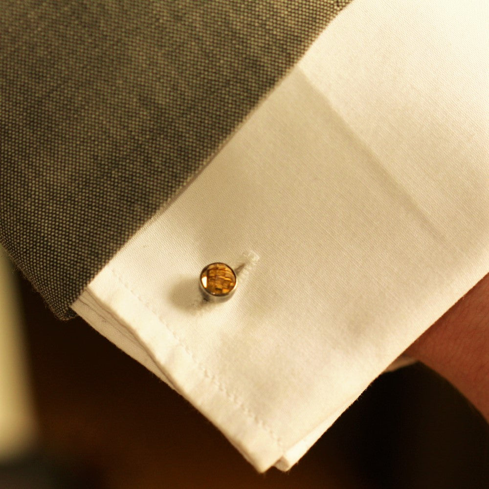 Citrine gemstone rustic designer bee cuff links