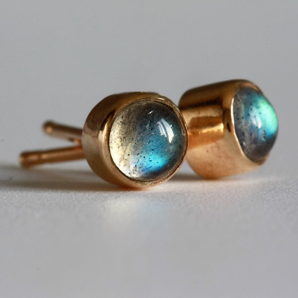 Labradorite Solid Gold Handcrafted Studs
