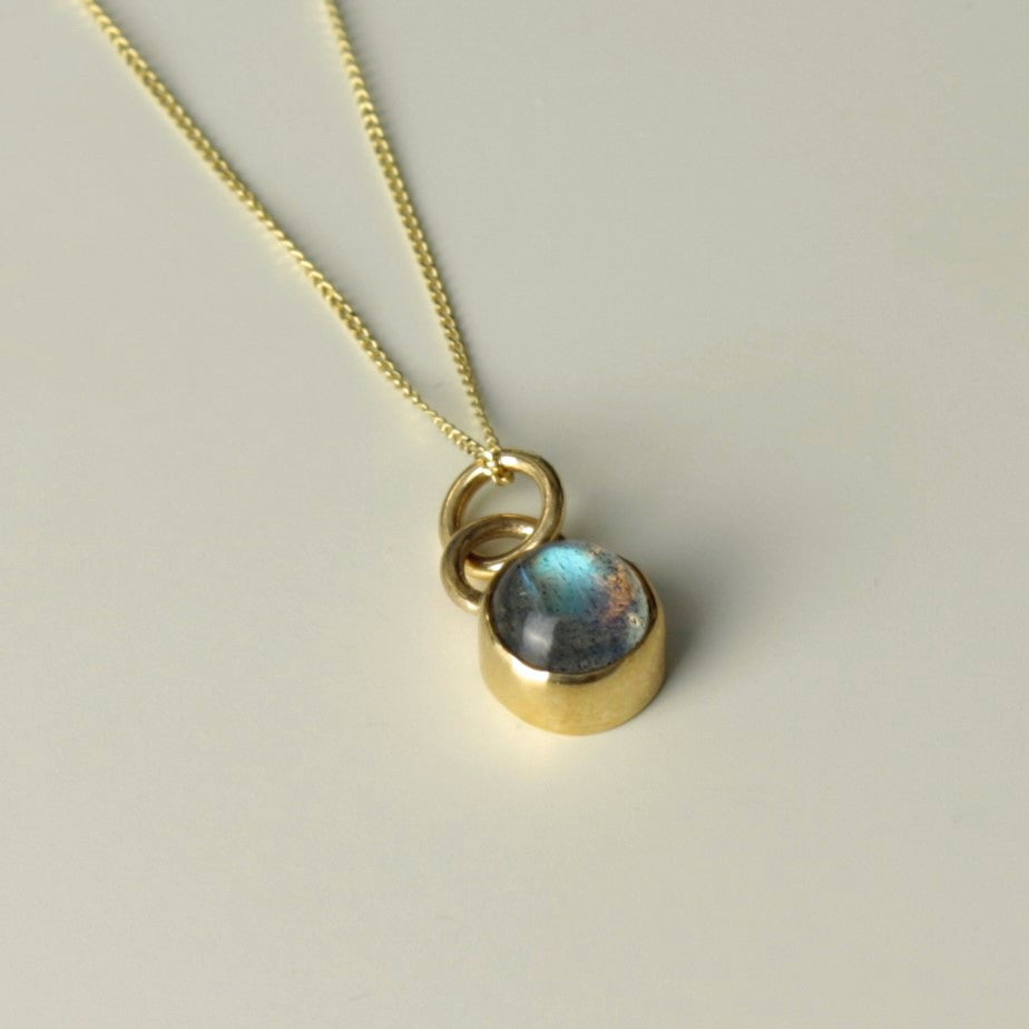 Solid 9ct gold Labradorite cabochon universe necklace