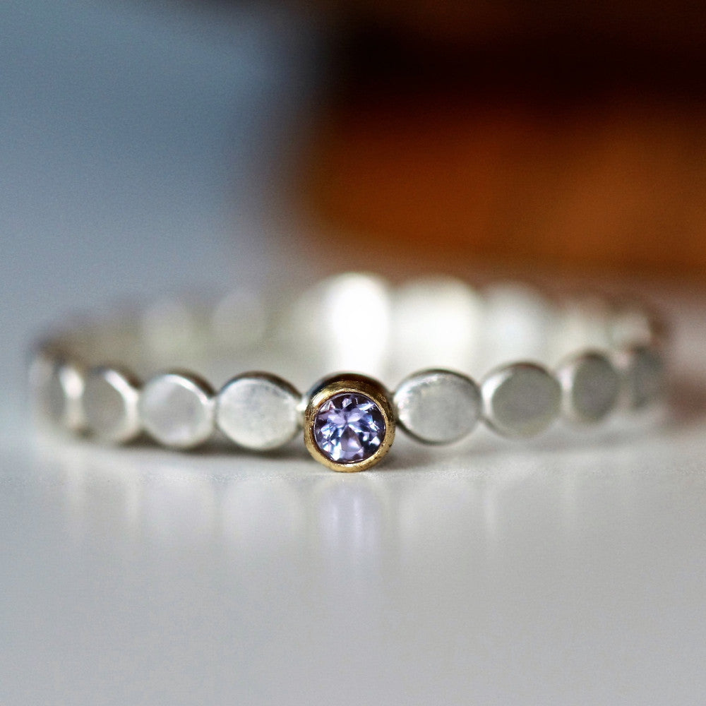 Tanzanite December birthstone dainty silver and gold ring
