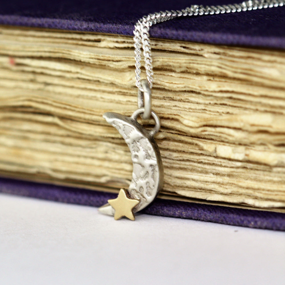 Luna textured moon and gold star necklace