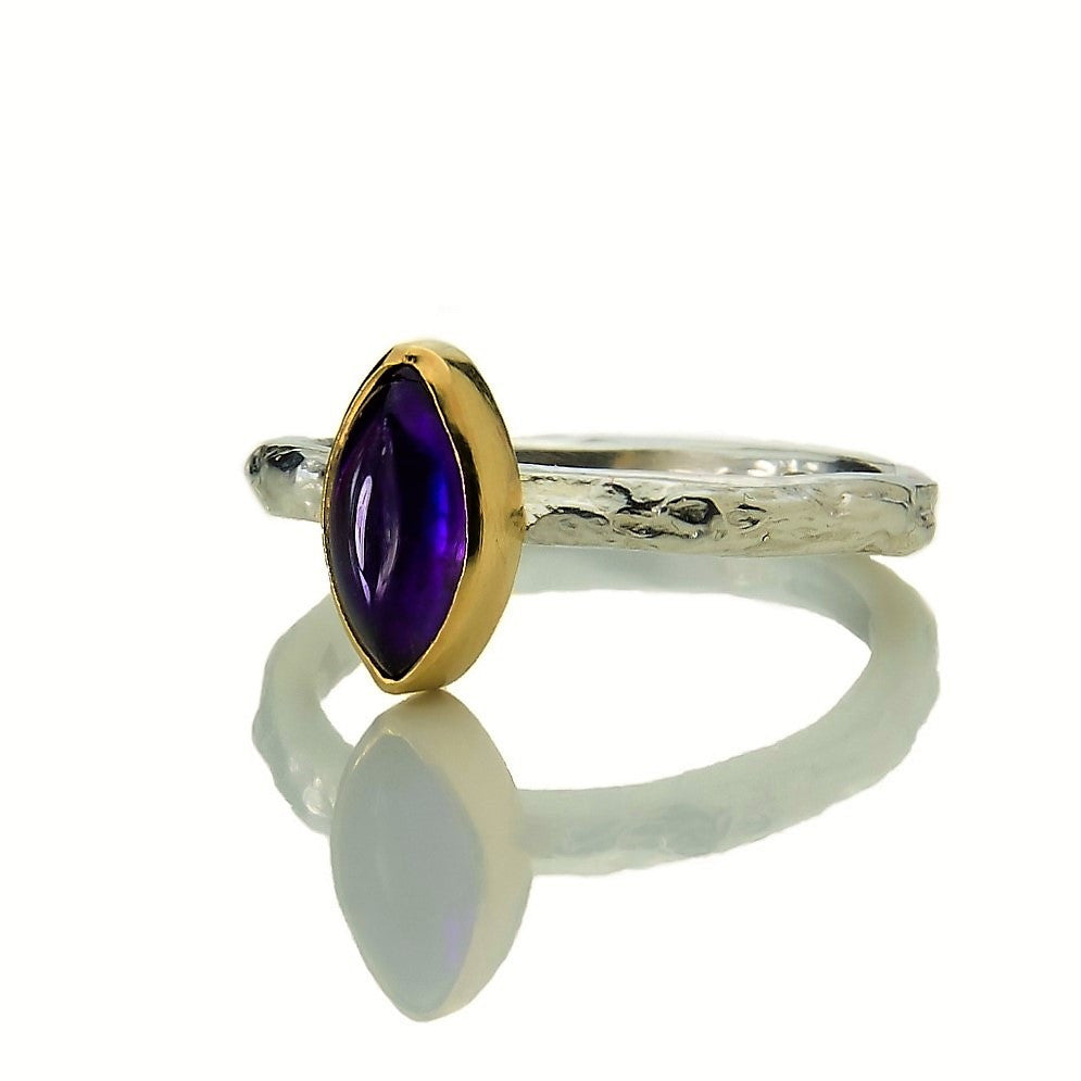 Marquise Amethyst Set in 9ct Gold on a Silver textured Treasure Ring