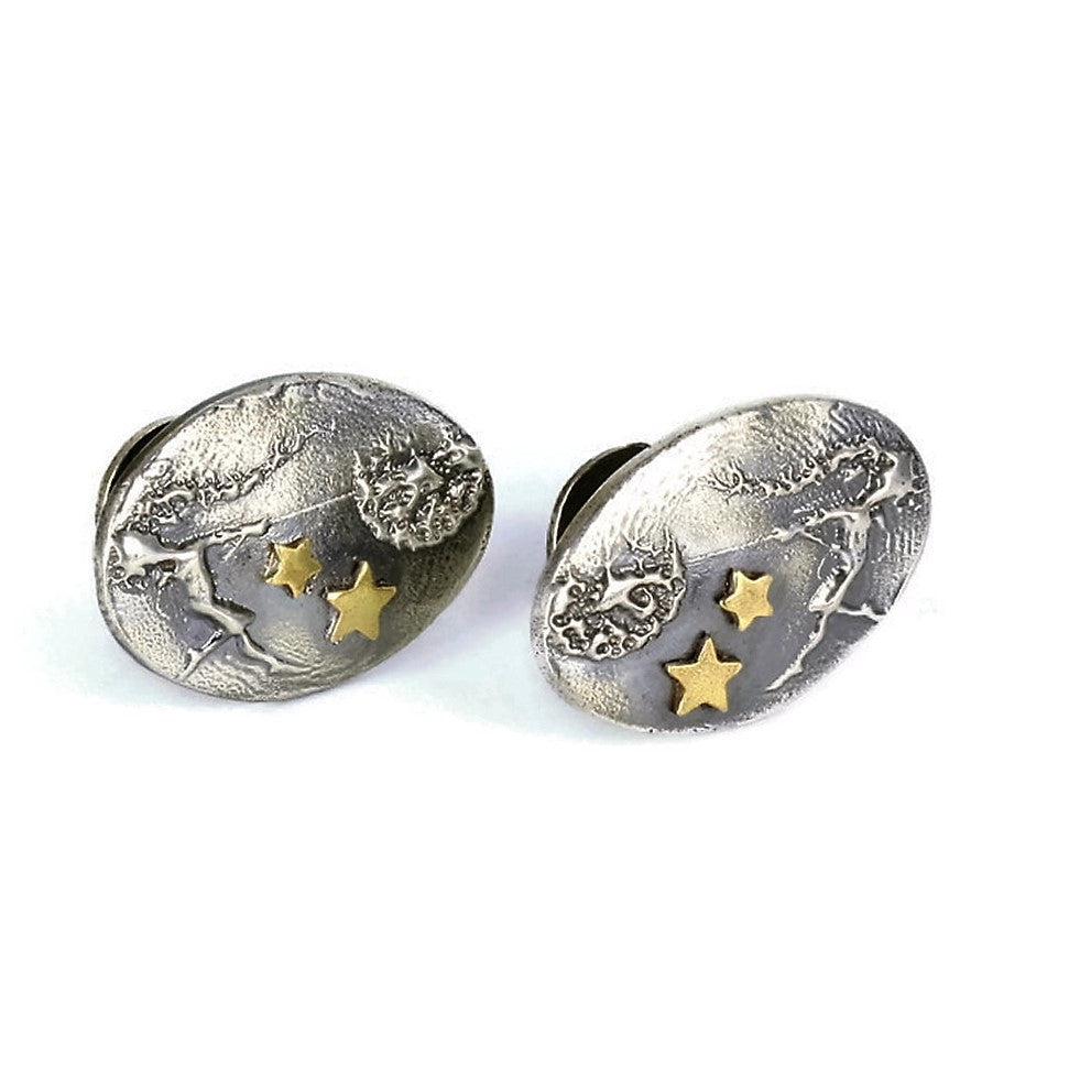 Dancing with Dandelions fairy cuff links with added 9ct gold stars