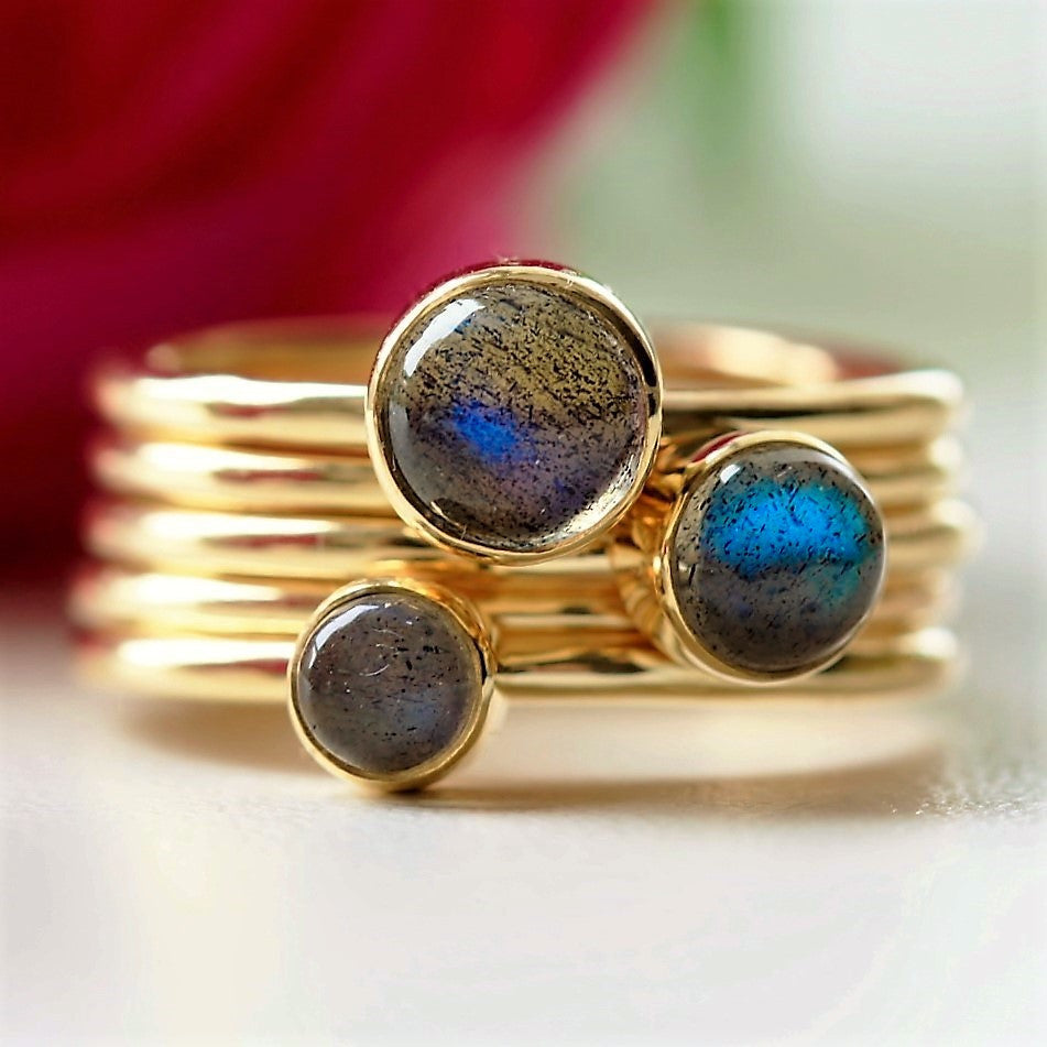 labradorite December power stone gold stacking ring set